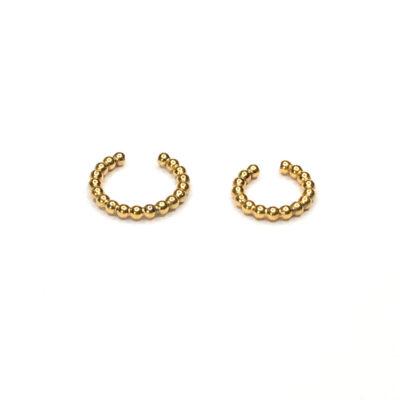 2 str earcuff lavet af kugler findes i sterling silver og forgyldt sterling silver